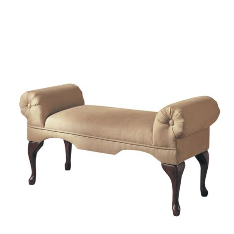 acme furniture aston microfiber rolled arm bench in beige
