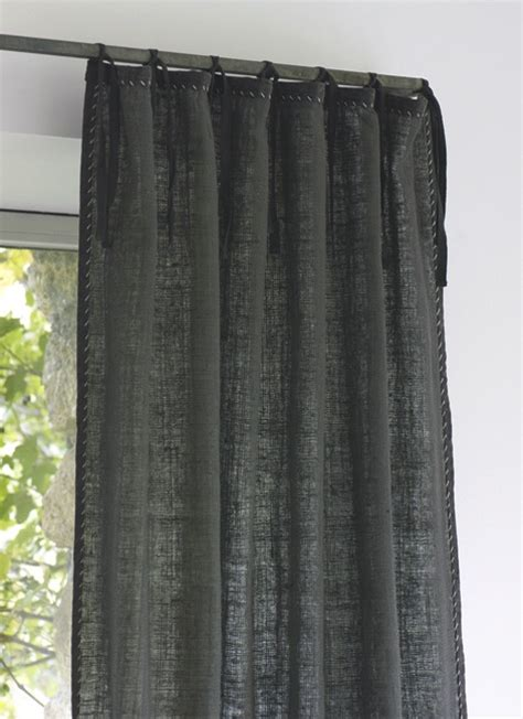 charcoal linen tie curtains home