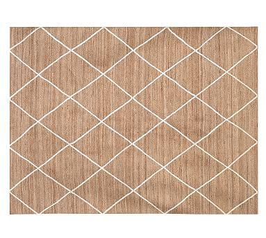 ivory jute rug jute lattice rug flax ivory pottery barn