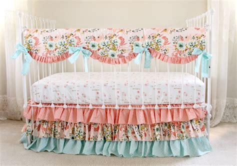 pink crib bedding bumperless crib bedding blush pink floral lottie da baby
