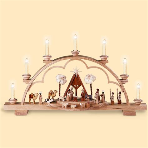 german candle arch christmas story length 64 cm 25 inch natural electrically illuminated