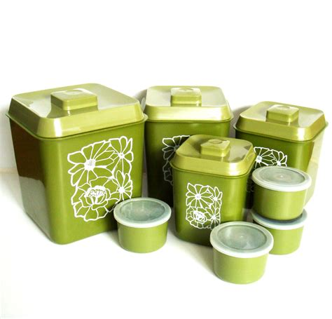 1970s avocado green canister set retro kitchen canisters with