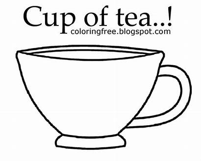 Cup Tea Coffee Colouring Drink Outline Colour