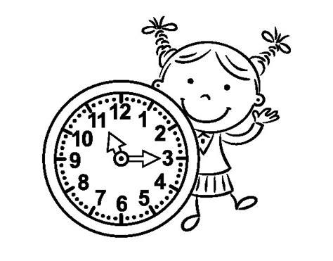disegni colorati ragazze disegno di ragazza con orologio da colorare acolore