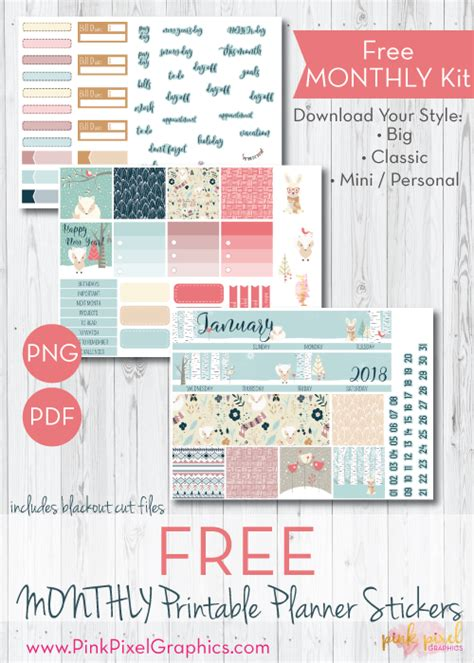 monthly planner sticker january 2018 monthly free planner stickers print and cut
