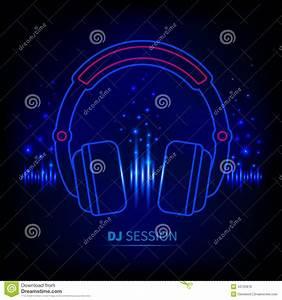 Light Neon Headphones Stock Vector - Image: 43720879