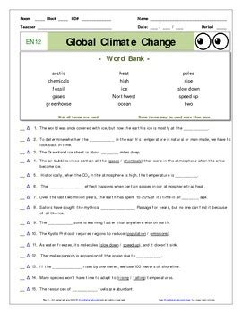 "An ""eyes Of Nye""  Global Climate Change  En12  Worksheet, Ans Sheet, Quizzes"