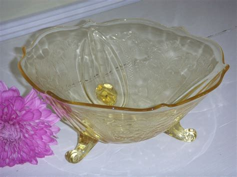 Yellow Depression Glass footed bowl   Vintage Glass Candy