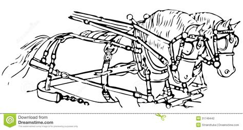 illustration  horses pulling  carriage stock illustration illustration  draughthorse