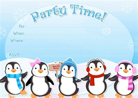 invitation party templates free printable penguin winter or holiday invitation