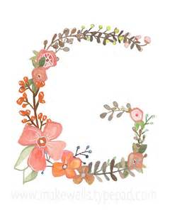 Alphabet Letter G with Flowers