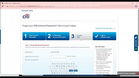 From the top menu go to services and choose my profile. How to change/create the Internet passward (IPIN) for city bank credit card - YouTube