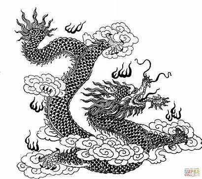 Dragon Coloring Pages Clouds Dragons Hard Chinese