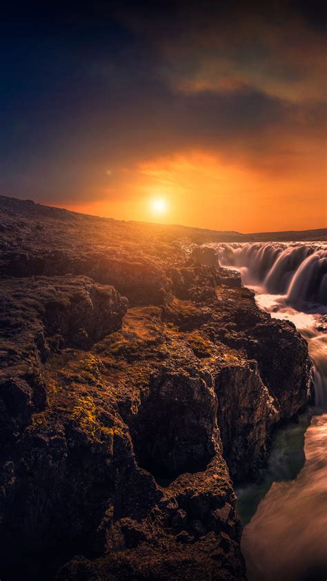 wallpaper rocks stream sunset hd  nature  wallpaper  iphone android mobile