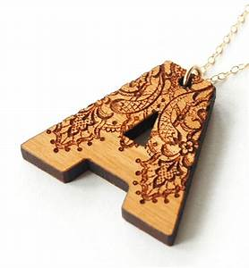 wooden letter necklace art pyrography pirogravura With wood letter cutter