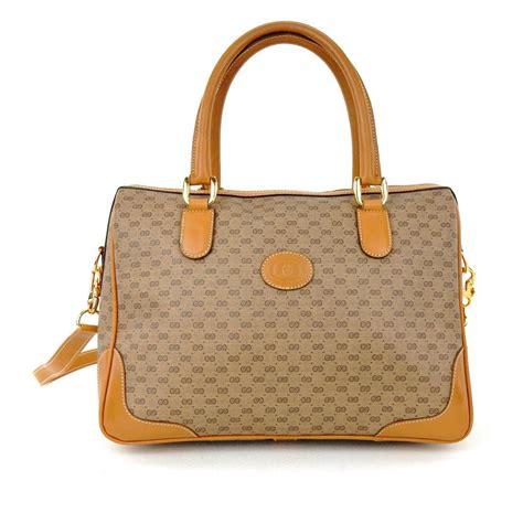 gucci rare vintage monogram tote   brown gg logo canvas leather shoulder bag tradesy
