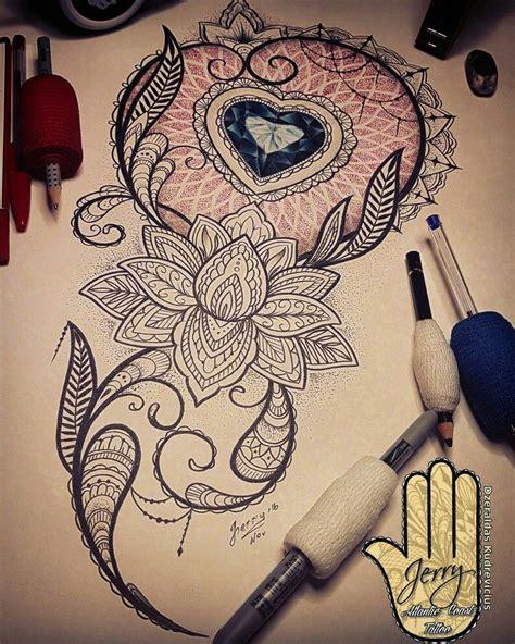 lotus flower  beautiful heart diamond tattoo design