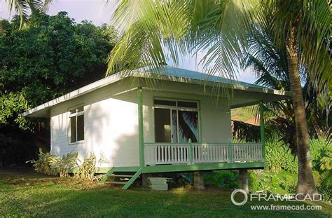 One Bedroom Steel Beach Bungalow , Small Prefab House Kits