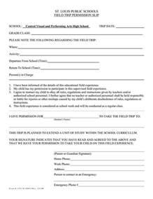 Field Trip Permission Slip Form