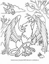 Coloring Griffin Creatures Deviantart Mythical Creature Printable sketch template