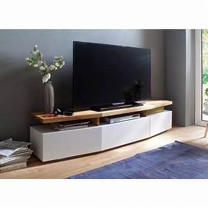Meuble Tv Chene Massif Moderne : meuble tv design ch ne massif et blanc cbc meubles ~ Teatrodelosmanantiales.com Idées de Décoration
