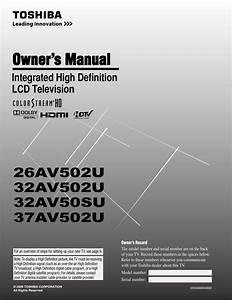 Toshiba 37av52u Television User Guide