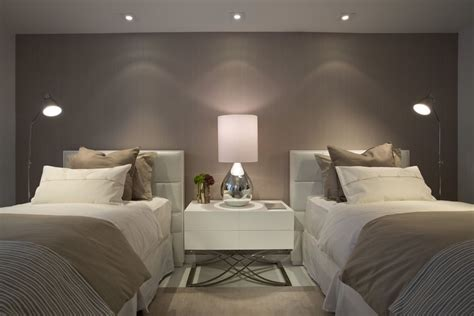 simple contemporary bedroom with pretty lighting and