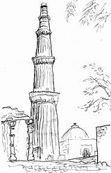 Sketch Coloring Gate Minar Qutub Garden Template Map sketch template