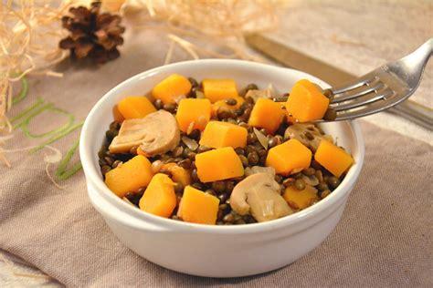 cuisiner la butternut poêlée de lentilles vertes et légumes d automne sautés