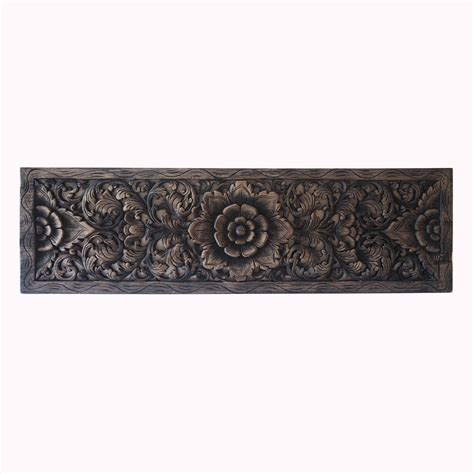 White King Headboard Wood by Thai Lotus Wood Carving Wall Art Panel Siam Sawadee