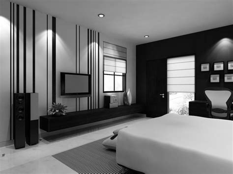 Black And White Bedroom With Interesting Single Bed On Nice Carpet Under Downlight Plus Led Tv