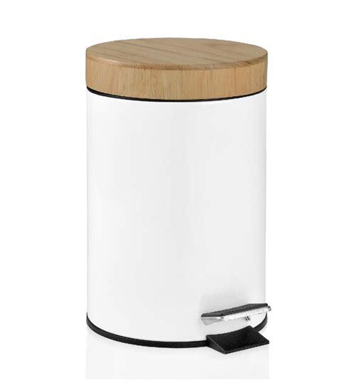 poubelle de salle de bain en bois et m 233 tal blanc wadiga