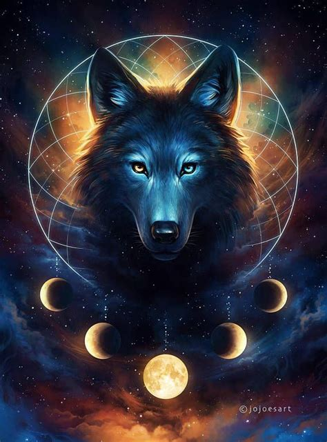 dream catcher signed art print fantasy wolf moon
