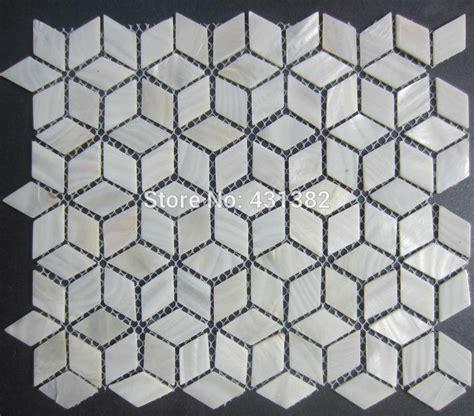 kitchen backsplash wallpaper rhombus shell mosaic tiles 42 24 naural white