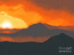 Mountain Sunset Painting by Pixel Chimp