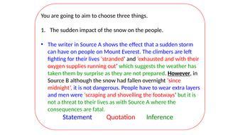 aqa language paper  lesson plan  death zonelondon snow mock paper teaching resources