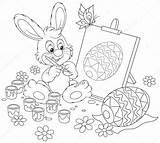Easter Painter Bunny Rabbit Coloring Drawing Egg Illustratie Easel Clipart Paashaas Animal Leveret Schilder Alexbannykh Illustraties Depositphotos Canstockphoto sketch template