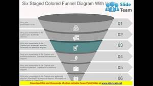 Six Staged Colored Funnel Diagram With Icons Flat