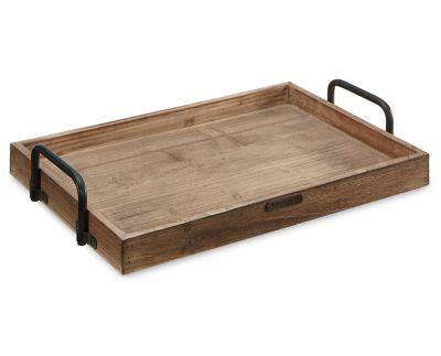 magnolia home rectangular wood tray  metal handle