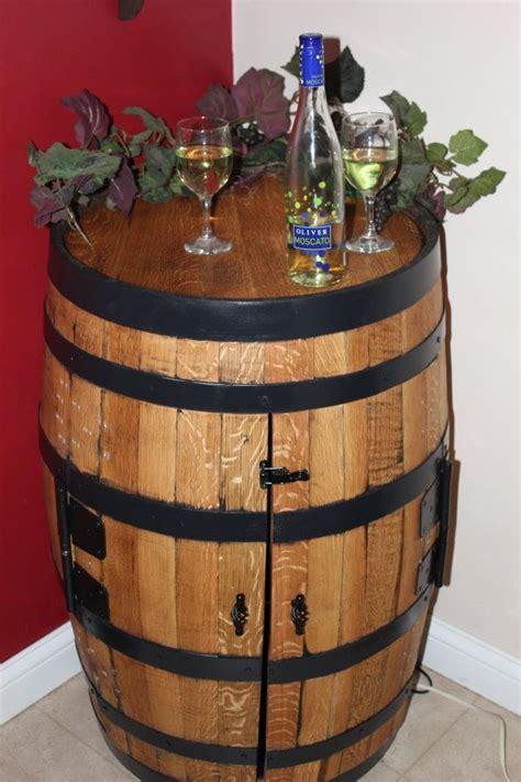 wine barrel liquor cabinet woodworking