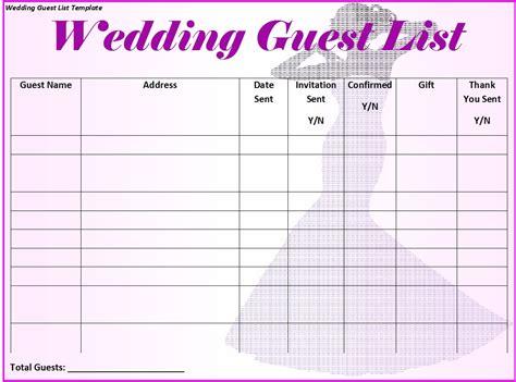 wedding guest list templates templatehub