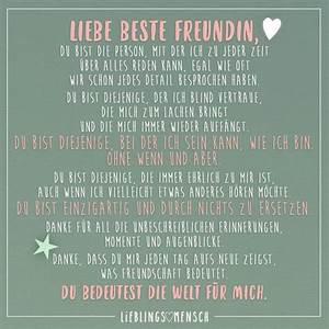 Was Kann Man Seiner Besten Freundin Zum Geburtstag Schenken : liebe beste freundin du bist die person mit der ich zu jeder zeit ber alles reden kann egal ~ Frokenaadalensverden.com Haus und Dekorationen
