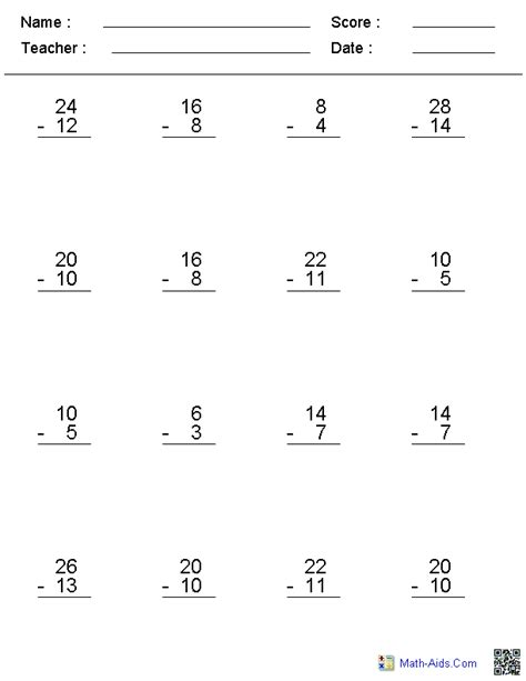 HD wallpapers subtraction worksheets without borrowing