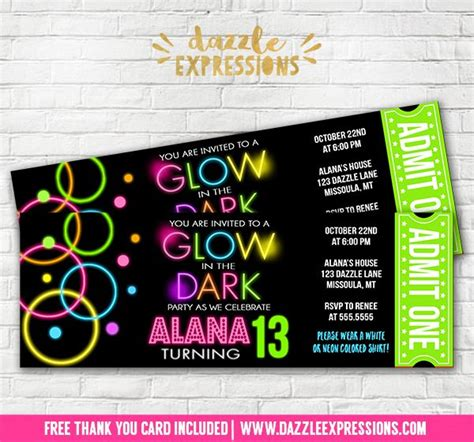 printable glow   dark ticket birthday invitation