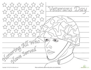veterans day coloring page worksheets social studies