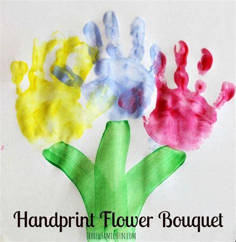 handprint flower bouquet spring toddler craft easy