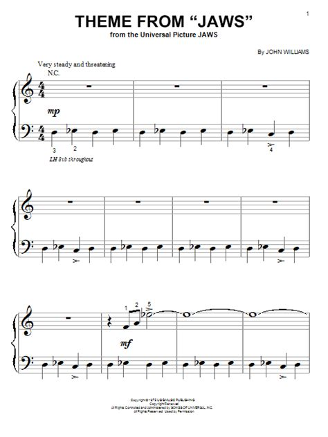 Theme from Jaws - John Williams | Sheet music, Learn piano ...