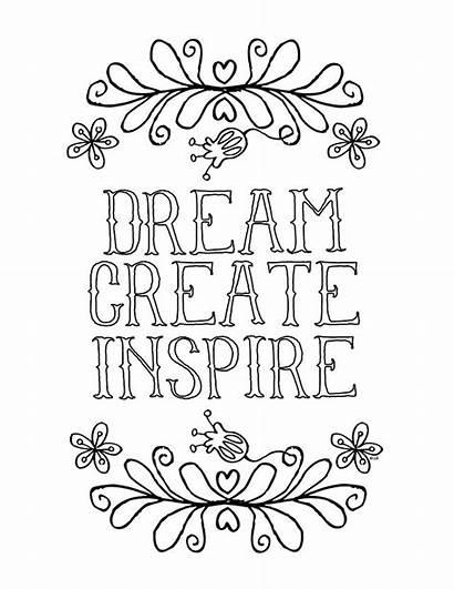 Coloring Inspirational Dream Printable Inspire Laugh Creative