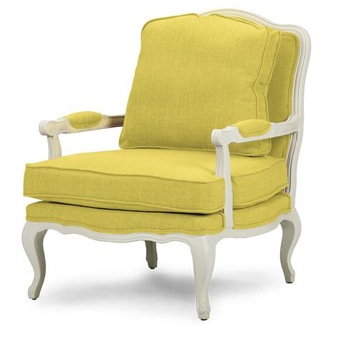 Sears Home Accent Chairs Baxton Studio Antoinette Classic Antiqued Yellow Fabric Accent Chair