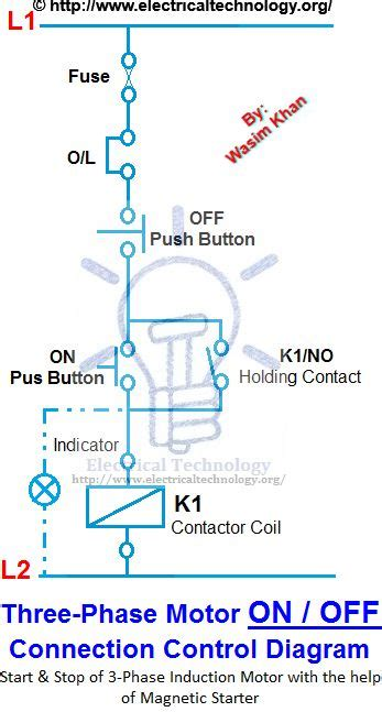 phase motor connection control diagram